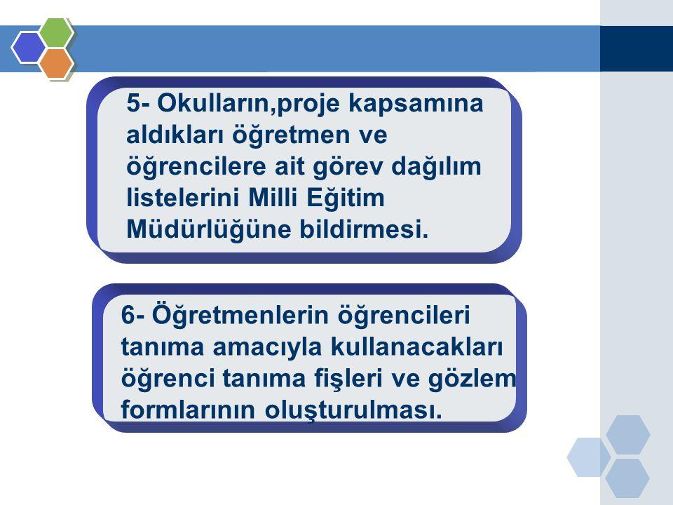 5- Okulların,proje kapsamına aldıkları öğretmen ve öğrencilere ait görev dağılım listelerini Milli Eğitim Müdürlüğüne bildirmesi. 6- Öğretmenlerin öğr
