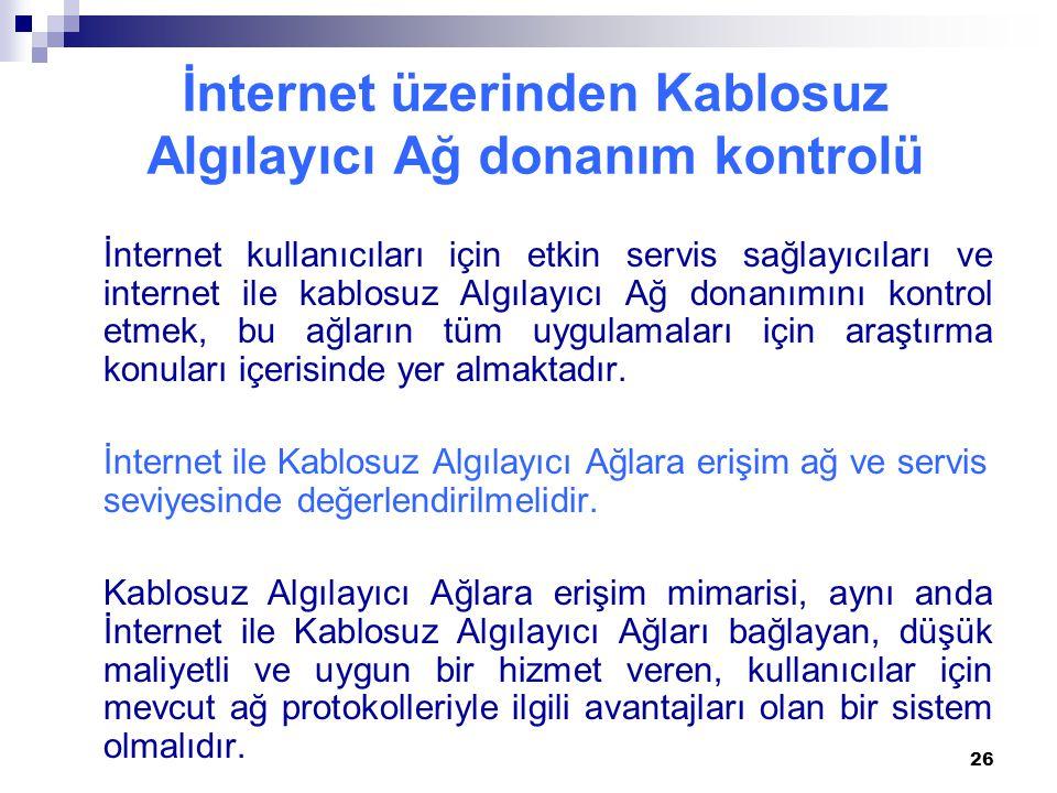 İnternet üzerinden Kablosuz Algılayıcı Ağ donanım kontrolü İnternet kullanıcıları için etkin servis sağlayıcıları ve internet ile kablosuz Algılayıcı