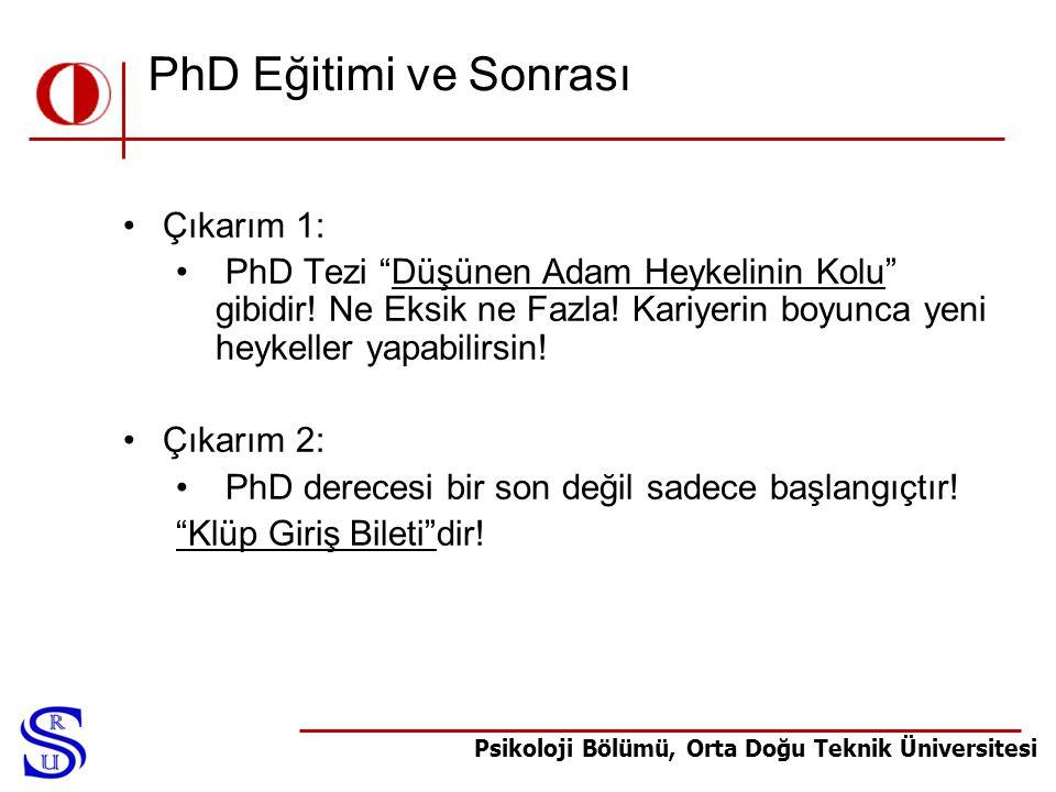 """Psikoloji Bölümü, Orta Doğu Teknik Üniversitesi PhD Eğitimi ve Sonrası •Çıkarım 1: • PhD Tezi """"Düşünen Adam Heykelinin Kolu"""" gibidir! Ne Eksik ne Fazl"""
