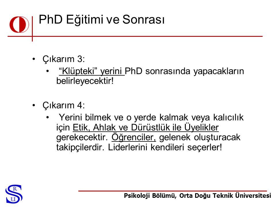 """Psikoloji Bölümü, Orta Doğu Teknik Üniversitesi PhD Eğitimi ve Sonrası •Çıkarım 3: • """"Klüpteki"""" yerini PhD sonrasında yapacakların belirleyecektir! •Ç"""