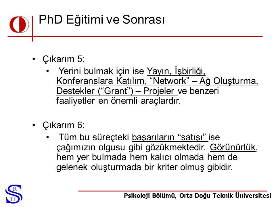 """Psikoloji Bölümü, Orta Doğu Teknik Üniversitesi PhD Eğitimi ve Sonrası •Çıkarım 5: • Yerini bulmak için ise Yayın, İşbirliği, Konferanslara Katılım, """""""