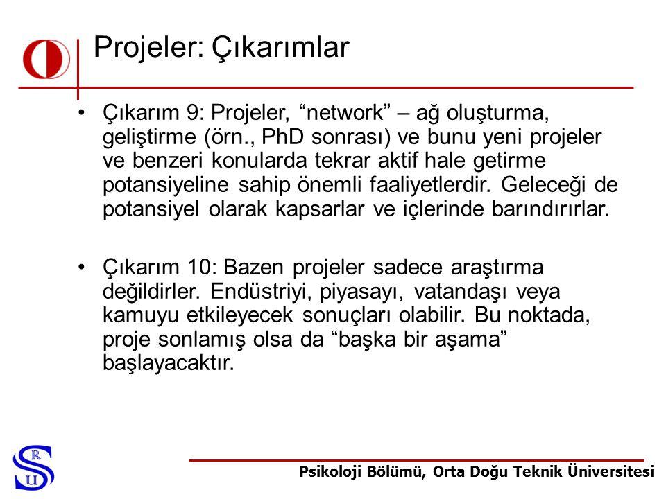 """Psikoloji Bölümü, Orta Doğu Teknik Üniversitesi Projeler: Çıkarımlar •Çıkarım 9: Projeler, """"network"""" – ağ oluşturma, geliştirme (örn., PhD sonrası) ve"""
