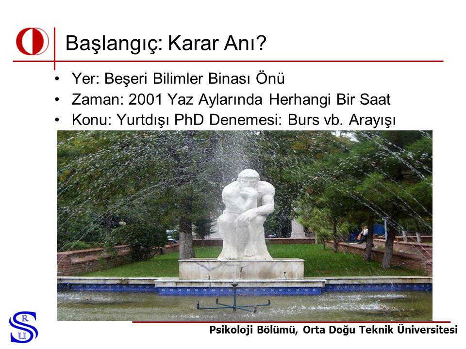 Psikoloji Bölümü, Orta Doğu Teknik Üniversitesi Başlangıç: Karar Anı? •Yer: Beşeri Bilimler Binası Önü •Zaman: 2001 Yaz Aylarında Herhangi Bir Saat •K