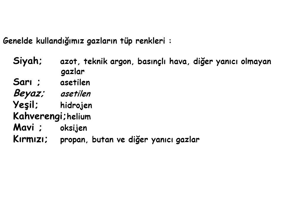 Genelde kullandığımız gazların tüp renkleri : Siyah; azot, teknik argon, basınçlı hava, diğer yanıcı olmayan gazlar Sarı ; asetilen Beyaz; asetilen Yeşil; hidrojen Kahverengi; helium Mavi ; oksijen Kırmızı; propan, butan ve diğer yanıcı gazlar