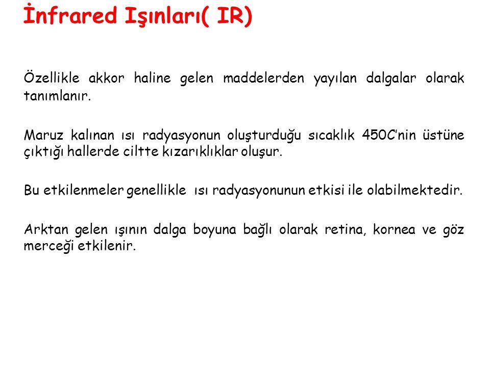 İnfrared Işınları( IR) Özellikle akkor haline gelen maddelerden yayılan dalgalar olarak tanımlanır.