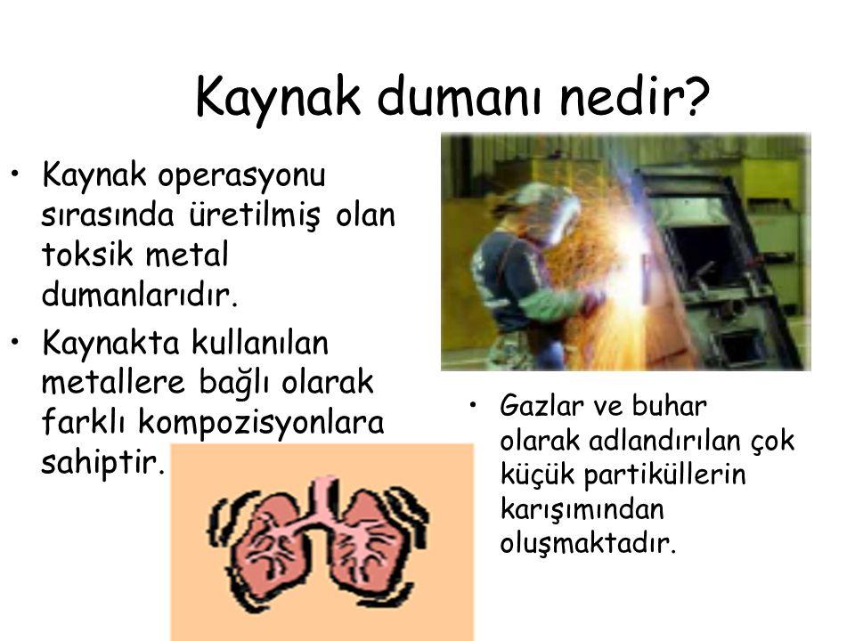 Kaynak dumanı nedir.•Kaynak operasyonu sırasında üretilmiş olan toksik metal dumanlarıdır.
