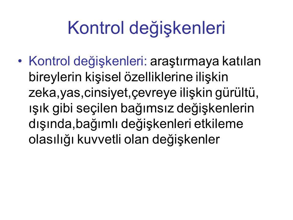 Kontrol değişkenleri •Kontrol değişkenleri: araştırmaya katılan bireylerin kişisel özelliklerine ilişkin zeka,yas,cinsiyet,çevreye ilişkin gürültü, ış