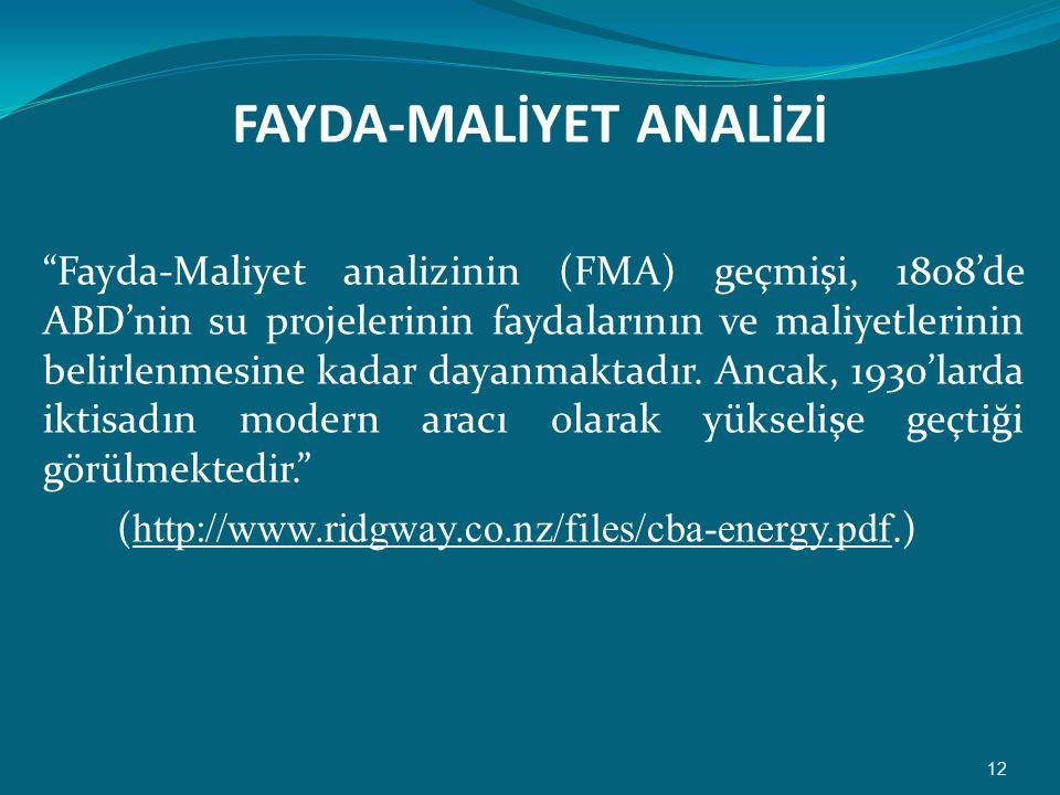 FAYDA-MALİYET ANALİZİ Fayda-Maliyet analizinin (FMA) geçmişi, 1808'de ABD'nin su projelerinin faydalarının ve maliyetlerinin belirlenmesine kadar dayanmaktadır.