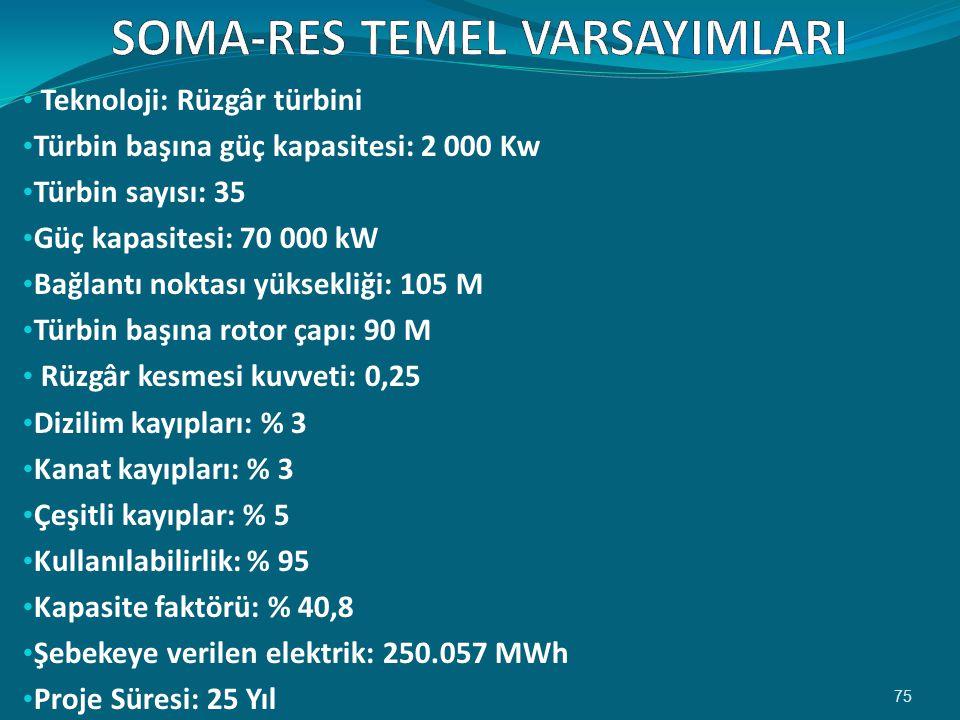 • Teknoloji: Rüzgâr türbini • Türbin başına güç kapasitesi: 2 000 Kw • Türbin sayısı: 35 • Güç kapasitesi: 70 000 kW • Bağlantı noktası yüksekliği: 105 M • Türbin başına rotor çapı: 90 M • Rüzgâr kesmesi kuvveti: 0,25 • Dizilim kayıpları: % 3 • Kanat kayıpları: % 3 • Çeşitli kayıplar: % 5 • Kullanılabilirlik: % 95 • Kapasite faktörü: % 40,8 • Şebekeye verilen elektrik: 250.057 MWh • Proje Süresi: 25 Yıl 75