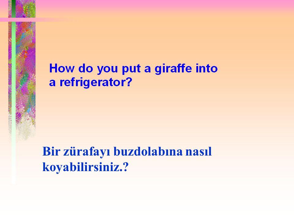 Doğru cevap: Buzdolabını açıp zürafayı koyun ve kapısını kapatın.