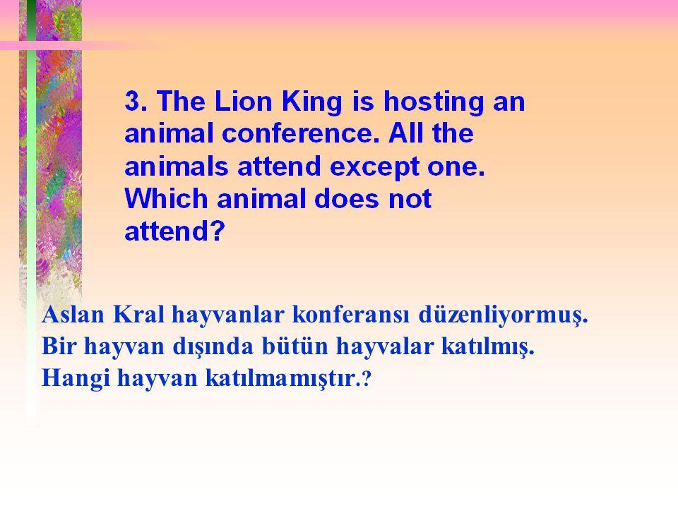 Aslan Kral hayvanlar konferansı düzenliyormuş. Bir hayvan dışında bütün hayvalar katılmış.