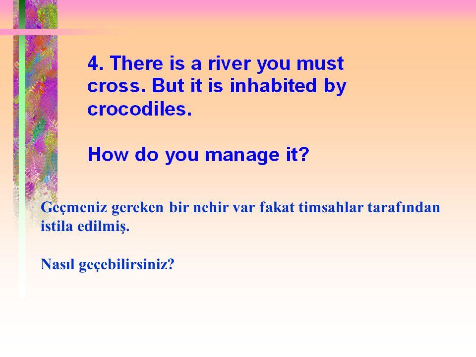 Doğru cevap: Karşıya Yüzerek.Nedenmi. Bütün timsahlar Hayvanlar Konferansına katılmıştı.