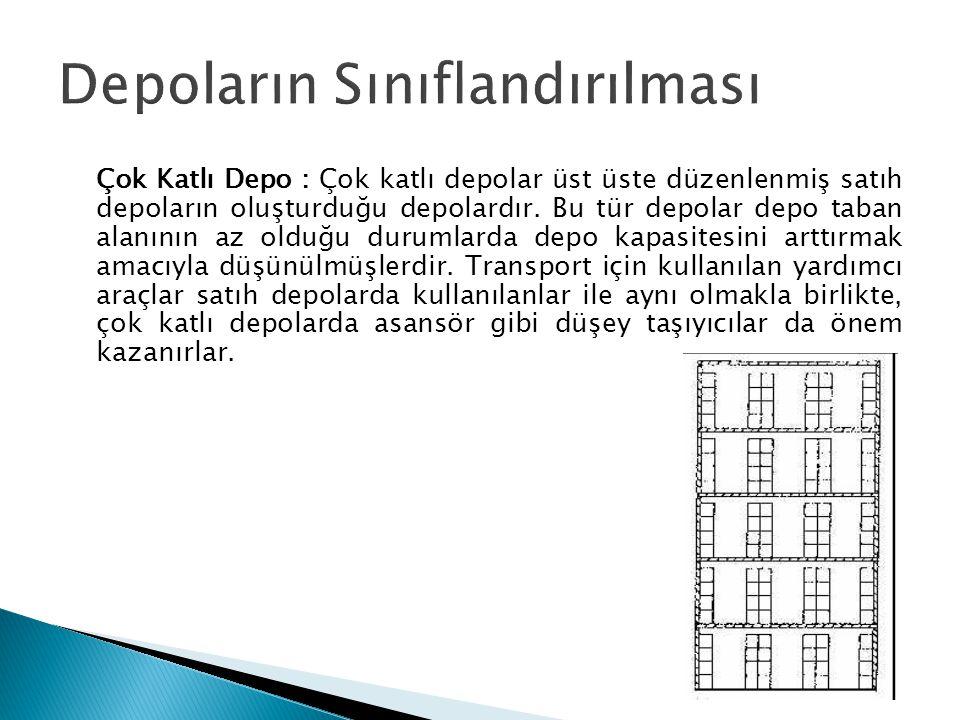 Çok Katlı Depo : Çok katlı depolar üst üste düzenlenmiş satıh depoların oluşturduğu depolardır.