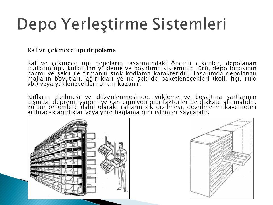 Raf ve çekmece tipi depolama Raf ve çekmece tipi depoların tasarımındaki önemli etkenler; depolanan malların tipi, kullanılan yükleme ve boşaltma sist