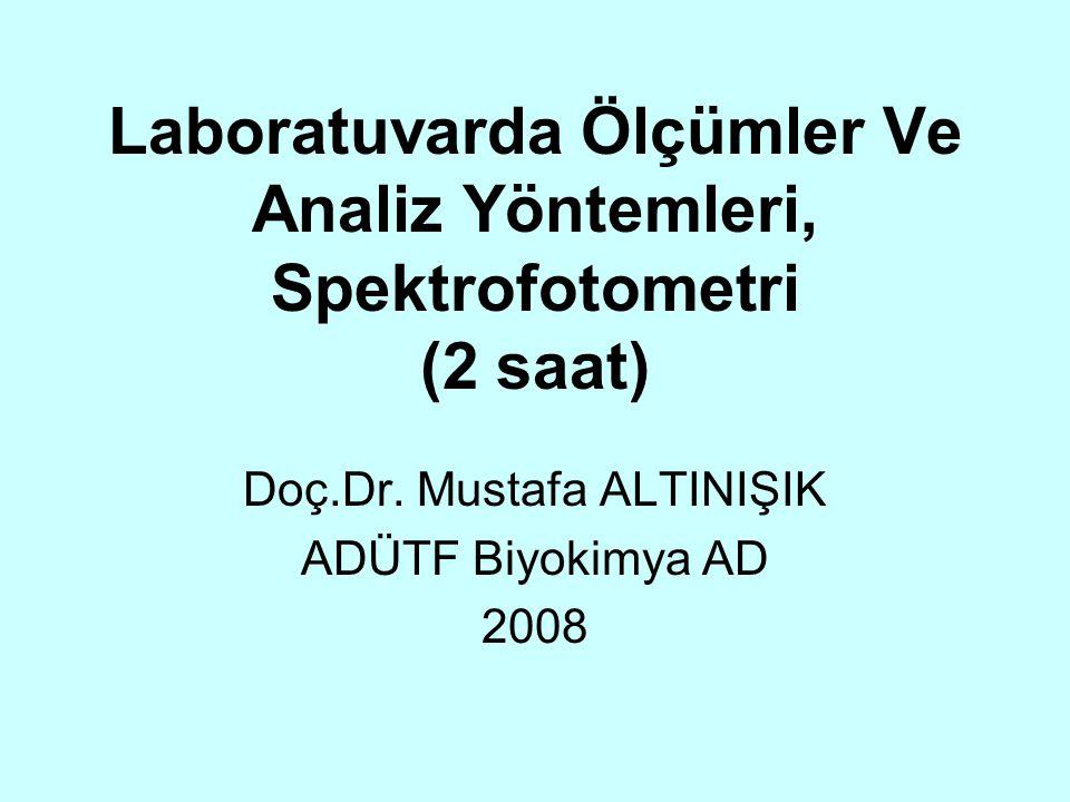 Laboratuvarda Ölçümler Ve Analiz Yöntemleri, Spektrofotometri (2 saat) Doç.Dr. Mustafa ALTINIŞIK ADÜTF Biyokimya AD 2008