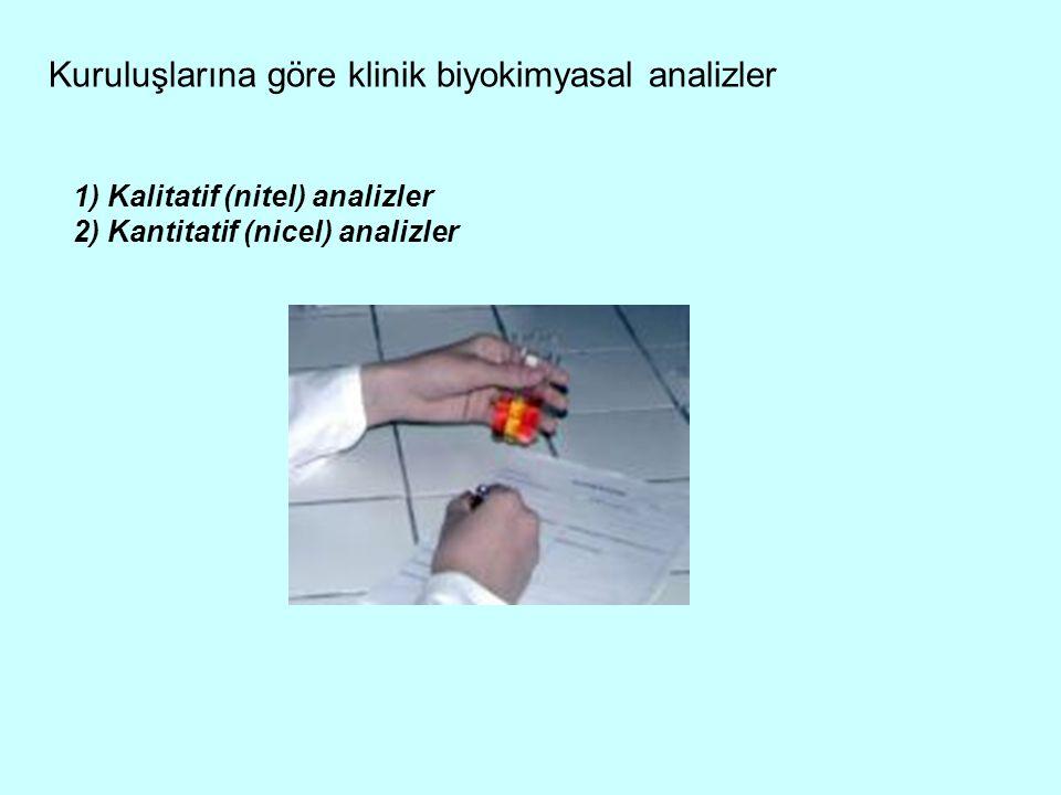 Kuruluşlarına göre klinik biyokimyasal analizler 1) Kalitatif (nitel) analizler 2) Kantitatif (nicel) analizler