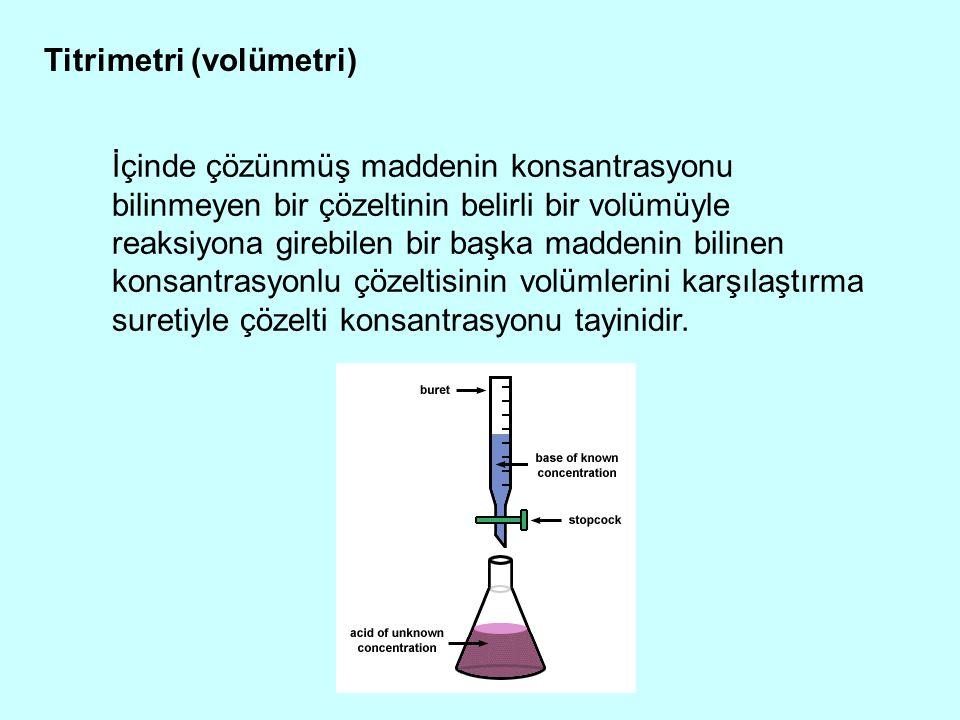Titrimetri (volümetri) İçinde çözünmüş maddenin konsantrasyonu bilinmeyen bir çözeltinin belirli bir volümüyle reaksiyona girebilen bir başka maddenin