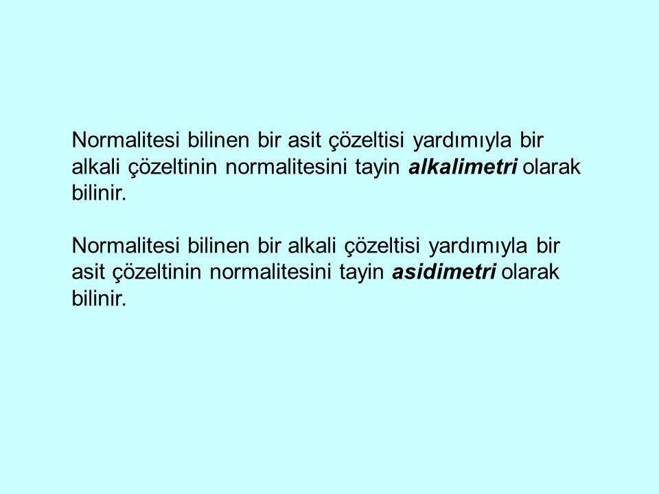 Normalitesi bilinen bir asit çözeltisi yardımıyla bir alkali çözeltinin normalitesini tayin alkalimetri olarak bilinir. Normalitesi bilinen bir alkali