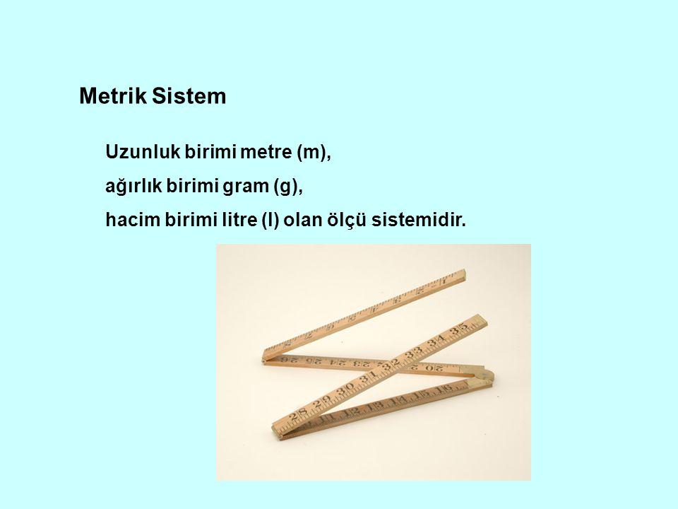 Metrik Sistem Uzunluk birimi metre (m), ağırlık birimi gram (g), hacim birimi litre (l) olan ölçü sistemidir.