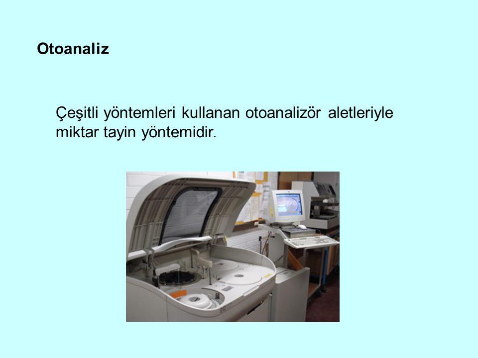 Otoanaliz Çeşitli yöntemleri kullanan otoanalizör aletleriyle miktar tayin yöntemidir.
