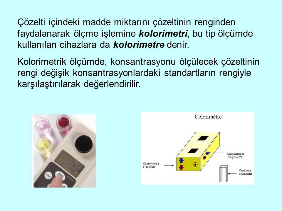 Çözelti içindeki madde miktarını çözeltinin renginden faydalanarak ölçme işlemine kolorimetri, bu tip ölçümde kullanılan cihazlara da kolorimetre deni