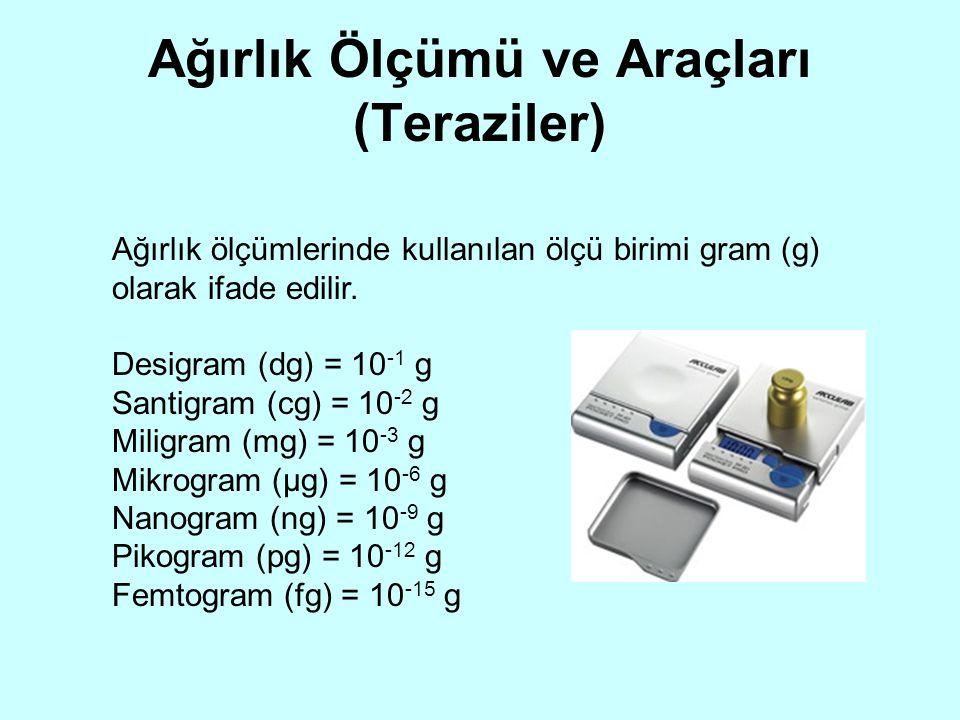 Ağırlık Ölçümü ve Araçları (Teraziler) Ağırlık ölçümlerinde kullanılan ölçü birimi gram (g) olarak ifade edilir. Desigram (dg) = 10 -1 g Santigram (cg