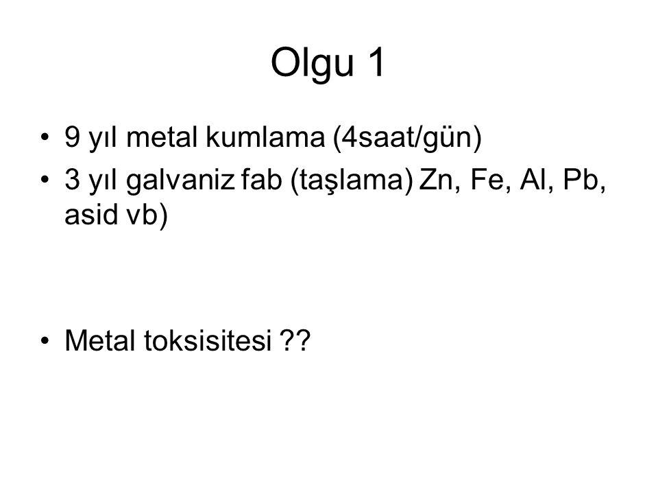 Olgu 1 •9 yıl metal kumlama (4saat/gün) •3 yıl galvaniz fab (taşlama) Zn, Fe, Al, Pb, asid vb) •Metal toksisitesi ??