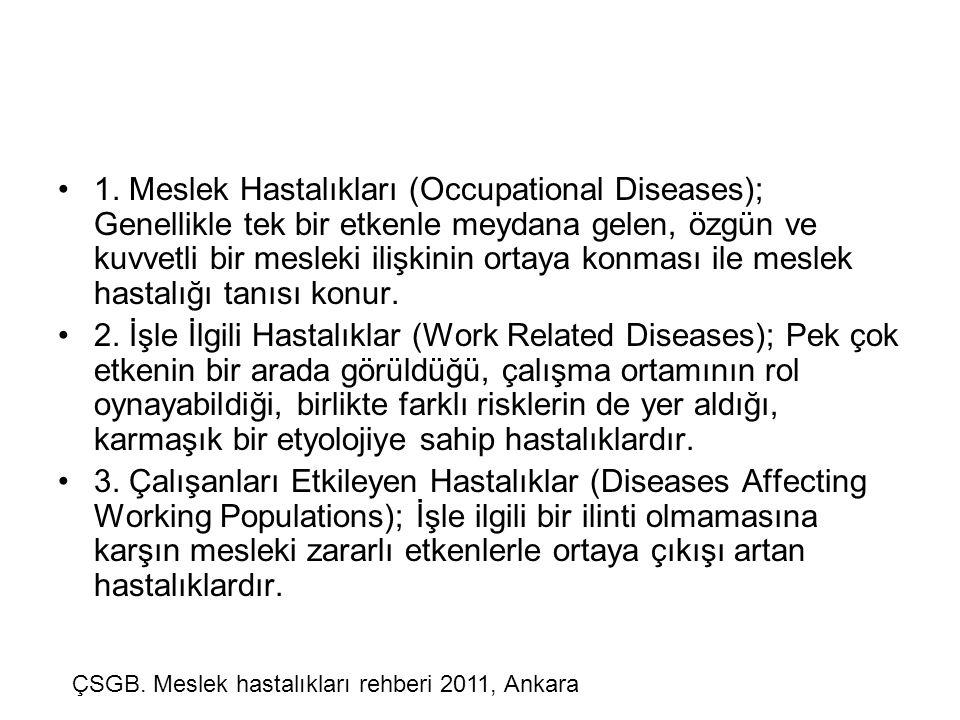 •1. Meslek Hastalıkları (Occupational Diseases); Genellikle tek bir etkenle meydana gelen, özgün ve kuvvetli bir mesleki ilişkinin ortaya konması ile