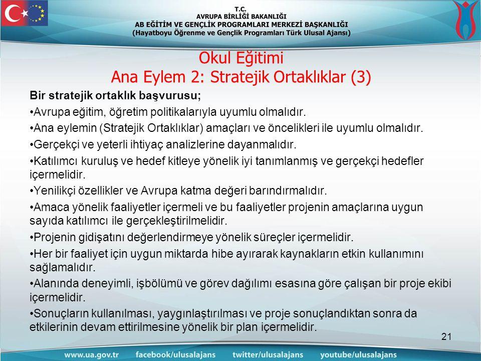 Bir stratejik ortaklık başvurusu; •Avrupa eğitim, öğretim politikalarıyla uyumlu olmalıdır.
