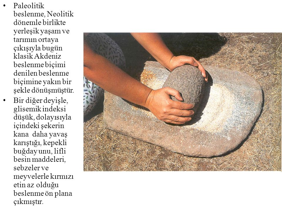 • Paleolitik beslenme, Neolitik dönemle birlikte yerleşik yaşam ve tarımın ortaya çıkışıyla bugün klasik Akdeniz beslenme biçimi denilen beslenme biçi