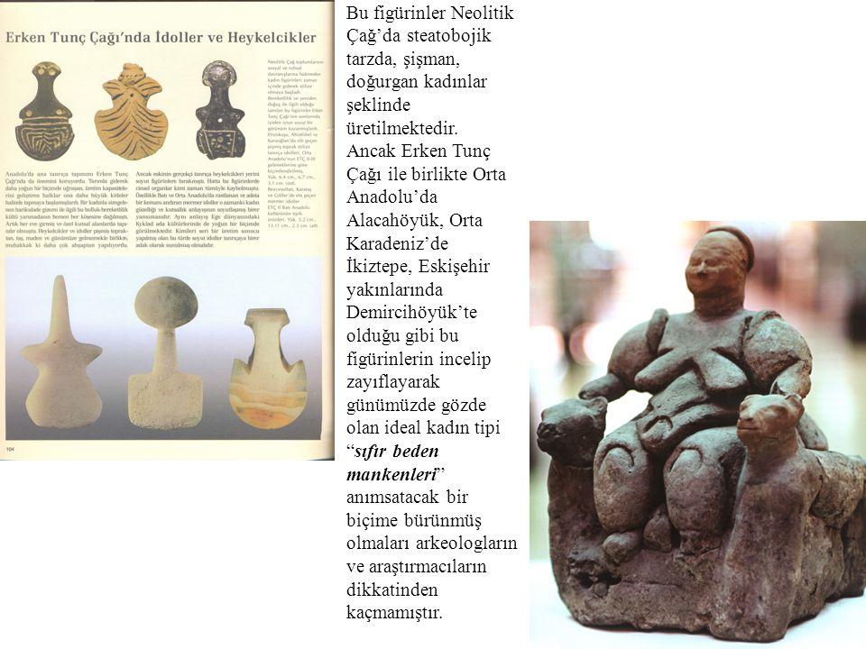 Bu figürinler Neolitik Çağ'da steatobojik tarzda, şişman, doğurgan kadınlar şeklinde üretilmektedir. Ancak Erken Tunç Çağı ile birlikte Orta Anadolu'd