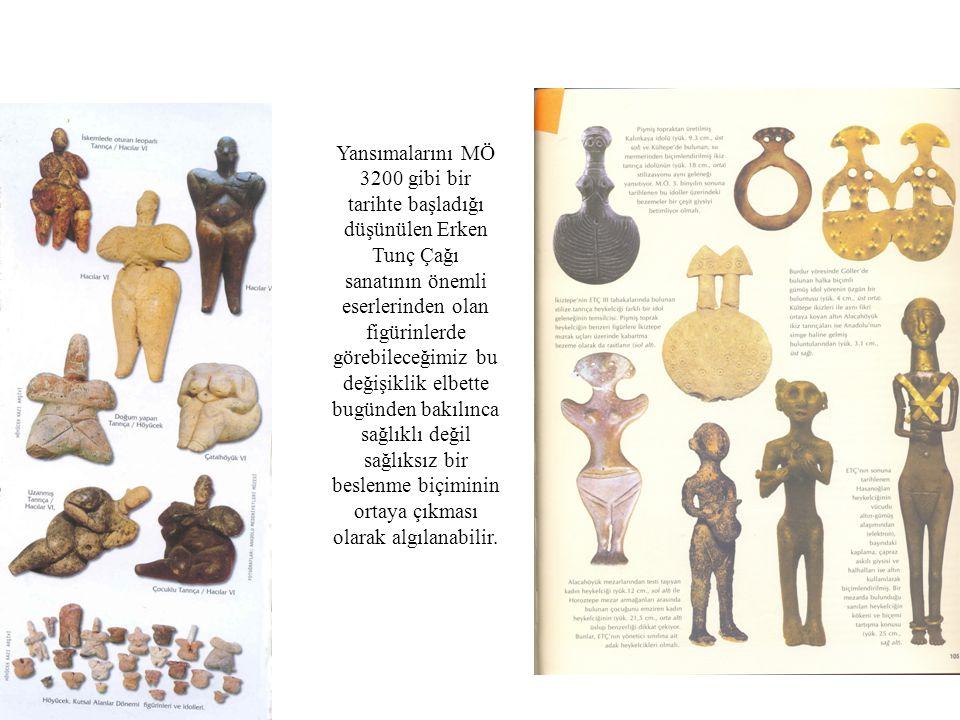 Yansımalarını MÖ 3200 gibi bir tarihte başladığı düşünülen Erken Tunç Çağı sanatının önemli eserlerinden olan figürinlerde görebileceğimiz bu değişikl