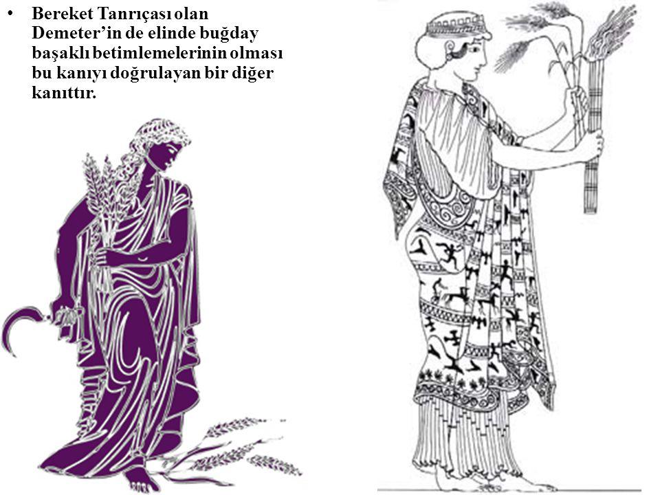 • Bereket Tanrıçası olan Demeter'in de elinde buğday başaklı betimlemelerinin olması bu kanıyı doğrulayan bir diğer kanıttır.