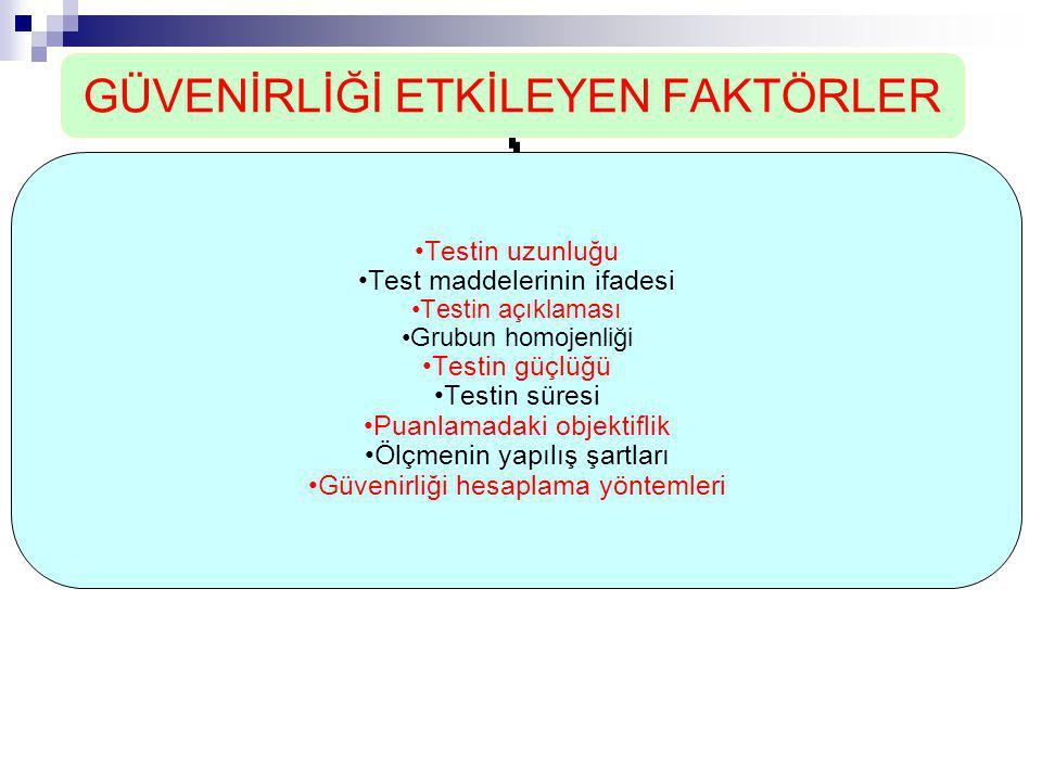 GÜVENİRLİĞİ ETKİLEYEN FAKTÖRLER •Testin uzunluğu •Test maddelerinin ifadesi •Testin açıklaması •Grubun homojenliği •Testin güçlüğü •Testin süresi •Pua