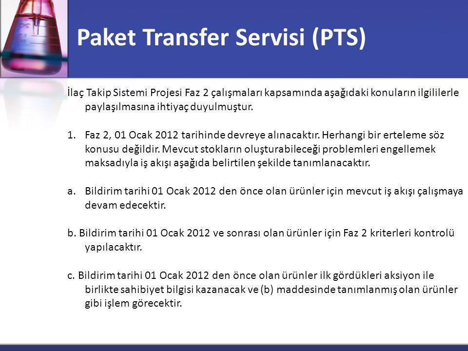 Paket Transfer Servisi (PTS) İlaç Takip Sistemi Projesi Faz 2 çalışmaları kapsamında aşağıdaki konuların ilgililerle paylaşılmasına ihtiyaç duyulmuştur.