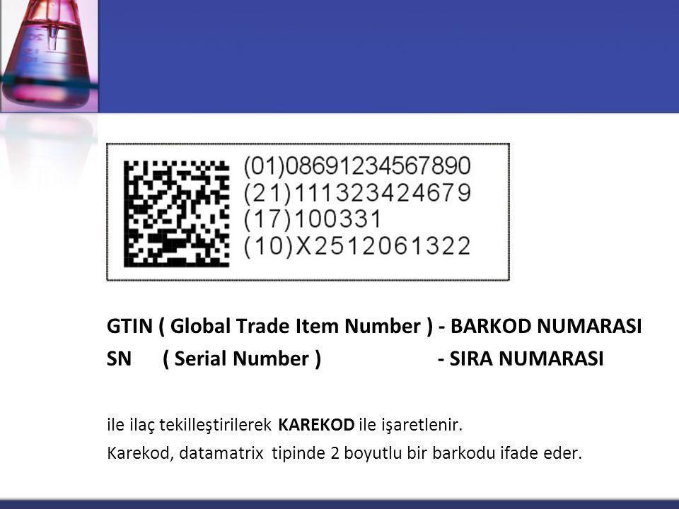 GTIN ( Global Trade Item Number ) - BARKOD NUMARASI SN ( Serial Number ) - SIRA NUMARASI ile ilaç tekilleştirilerek KAREKOD ile işaretlenir. Karekod,