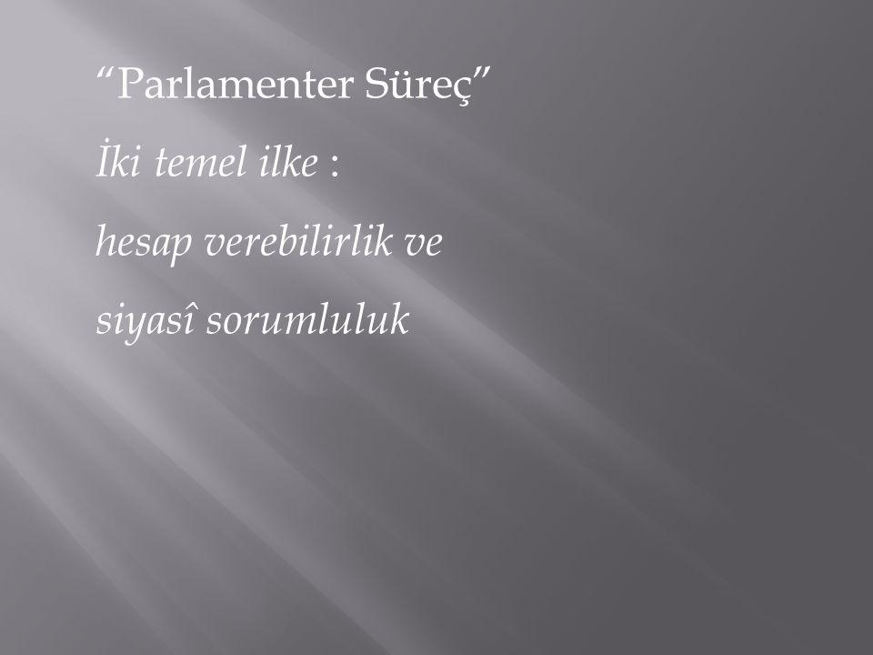"""""""Parlamenter Süreç"""" İki temel ilke : hesap verebilirlik ve siyasî sorumluluk"""
