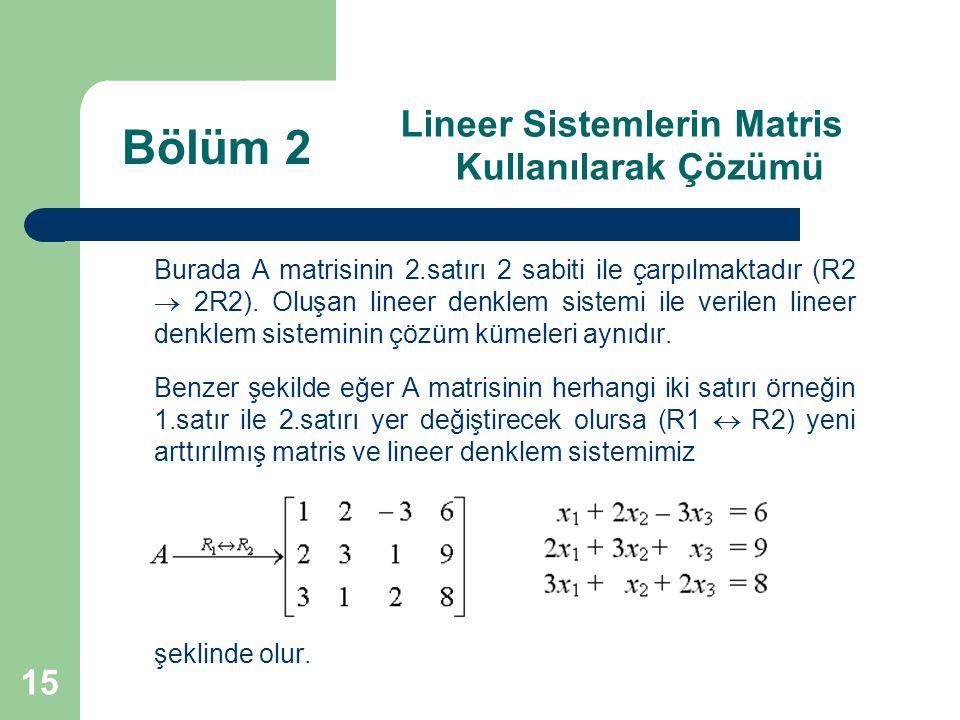 15 Lineer Sistemlerin Matris Kullanılarak Çözümü Burada A matrisinin 2.satırı 2 sabiti ile çarpılmaktadır (R2  2R2). Oluşan lineer denklem sistemi il