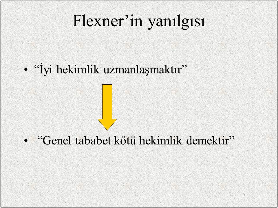 """15 Flexner'in yanılgısı •""""İyi hekimlik uzmanlaşmaktır"""" • """"Genel tababet kötü hekimlik demektir"""""""