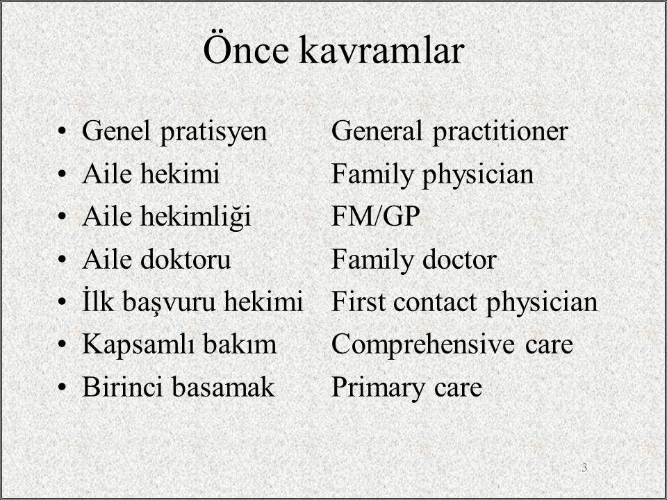 3 Önce kavramlar •Genel pratisyenGeneral practitioner •Aile hekimiFamily physician •Aile hekimliğiFM/GP •Aile doktoruFamily doctor •İlk başvuru hekimi