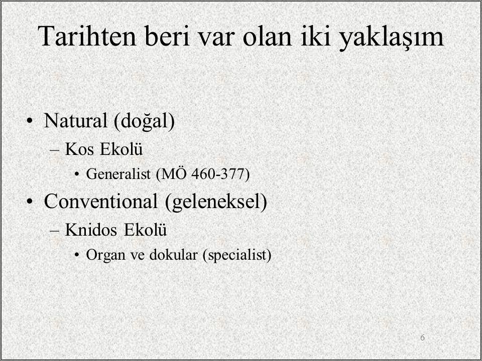 6 Tarihten beri var olan iki yaklaşım •Natural (doğal) –Kos Ekolü •Generalist (MÖ 460-377) •Conventional (geleneksel) –Knidos Ekolü •Organ ve dokular