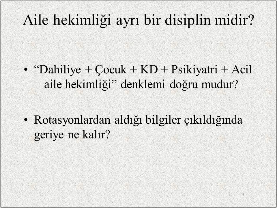"""9 Aile hekimliği ayrı bir disiplin midir? •""""Dahiliye + Çocuk + KD + Psikiyatri + Acil = aile hekimliği"""" denklemi doğru mudur? •Rotasyonlardan aldığı b"""