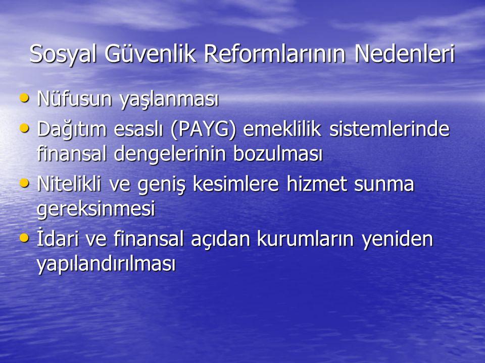 Sosyal Güvenlik Reformlarının Nedenleri • Nüfusun yaşlanması • Dağıtım esaslı (PAYG) emeklilik sistemlerinde finansal dengelerinin bozulması • Nitelik