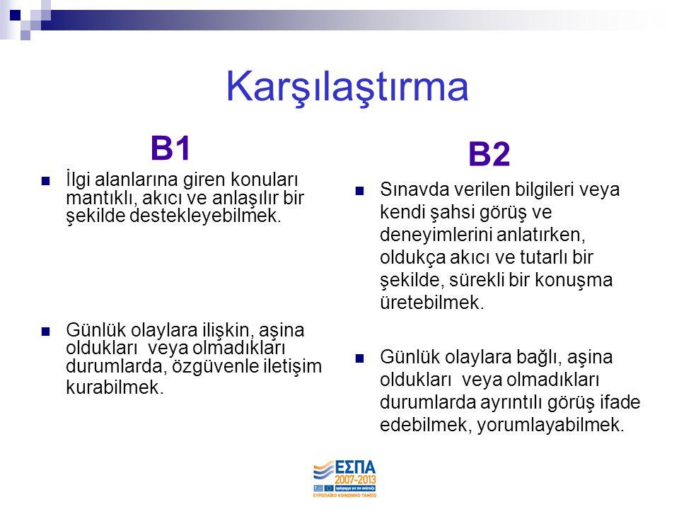 B1 B2  Gündelik hayat dilini kullanabilmek.