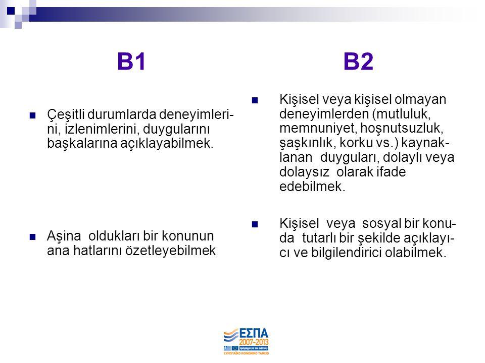 B1 B2  Basit bir probleme, sorunlu bir duruma çare bulmak veya çözüm önerebilmek.