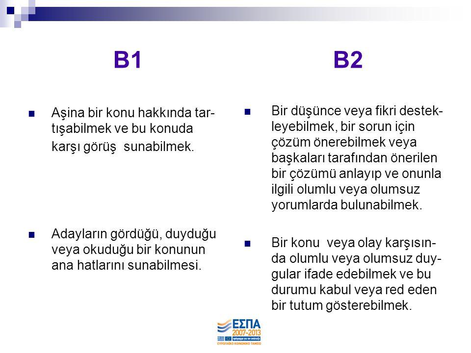 B1 B2  Aşina bir konu hakkında tar- tışabilmek ve bu konuda karşı görüş sunabilmek.  Adayların gördüğü, duyduğu veya okuduğu bir konunun ana hatları