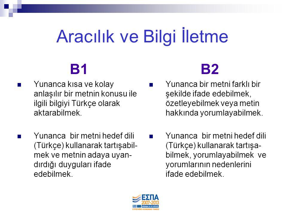 Aracılık ve Bilgi İletme B1  Yunanca kısa ve kolay anlaşılır bir metnin konusu ile ilgili bilgiyi Türkçe olarak aktarabilmek.  Yunanca bir metni hed