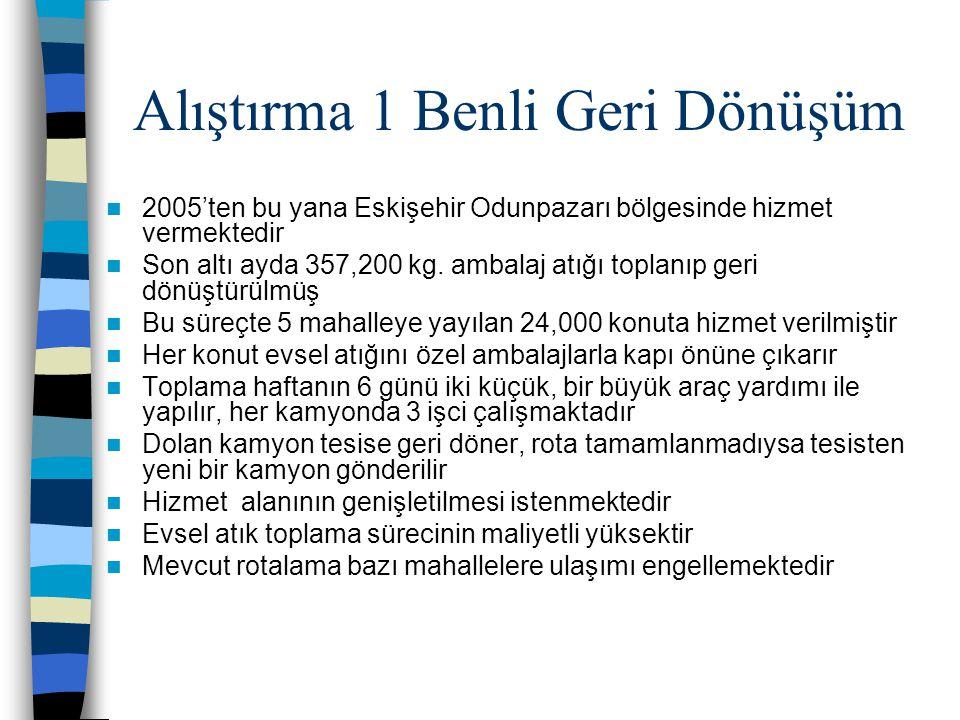 Alıştırma 1 Benli Geri Dönüşüm  2005'ten bu yana Eskişehir Odunpazarı bölgesinde hizmet vermektedir  Son altı ayda 357,200 kg.
