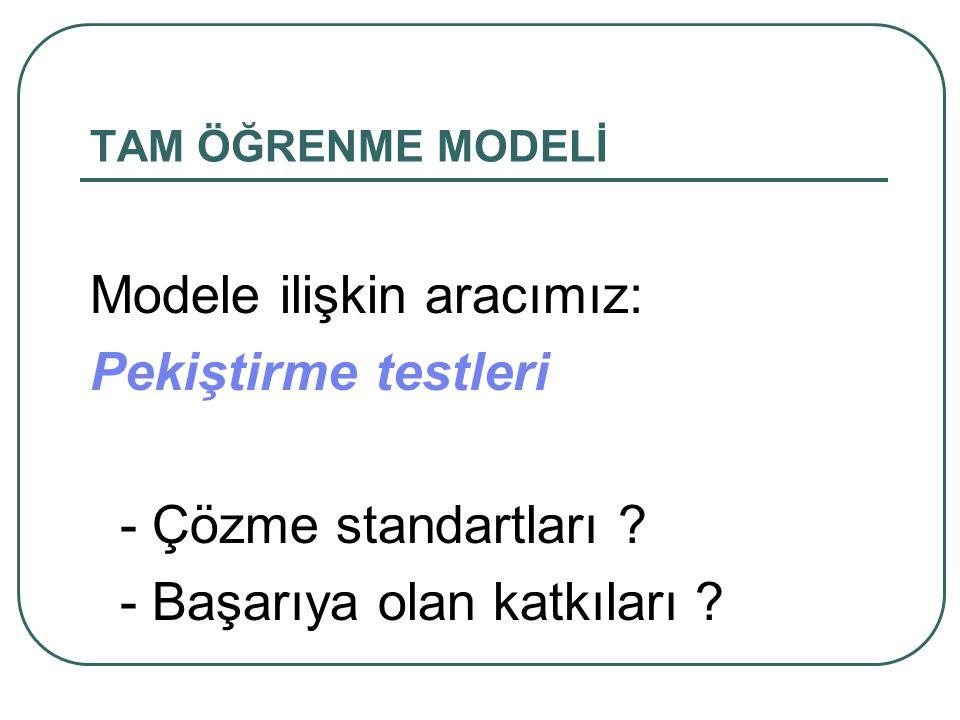 TAM ÖĞRENME MODELİ Modele ilişkin aracımız: Pekiştirme testleri - Çözme standartları .