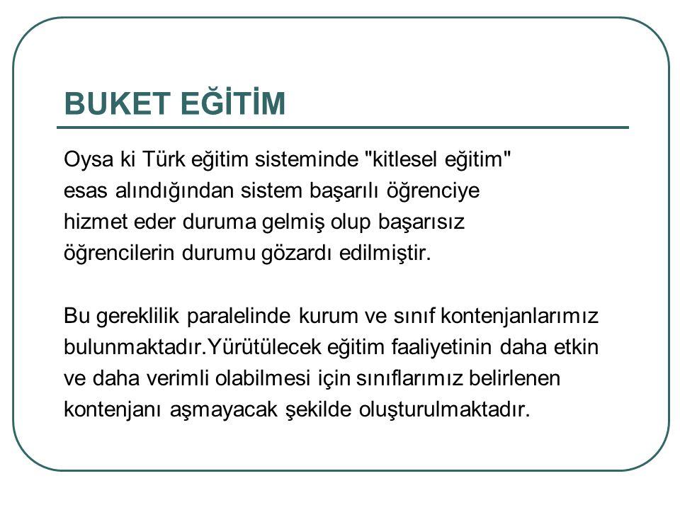 BUKET EĞİTİM Oysa ki Türk eğitim sisteminde kitlesel eğitim esas alındığından sistem başarılı öğrenciye hizmet eder duruma gelmiş olup başarısız öğrencilerin durumu gözardı edilmiştir.